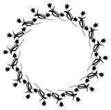 Black and white round frame with flowers. Copy space. Design element for graphics artworks Royalty Free Stock Photo