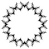 Black and white round frame with flowers. Copy space. Design element for graphics artworks Royalty Free Stock Photography