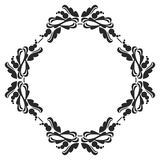 Black and white round frame with flowers. Stock Image