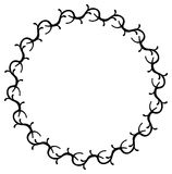 Black and white round frame with flowers. Copy space. Design element for graphics artworks Royalty Free Stock Images