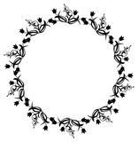 Black and white round frame with flowers. Copy space. Design element for graphics artworks Royalty Free Stock Image