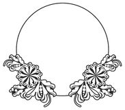 Black and white round frame with flowers. Royalty Free Stock Photos