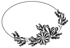 Black and white round frame with flowers. Royalty Free Stock Photography