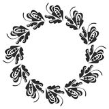 Black and white round frame with flowers. Copy space. Design element for graphics artworks Stock Images