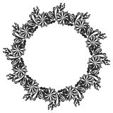 Black and white round frame with flowers. Copy space. Design element for graphics artworks Stock Photography