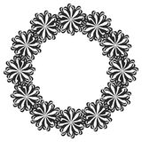 Black and white round frame with flowers. Royalty Free Stock Photo