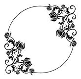 Black and white round frame with flowers silhouettes.