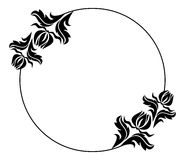 Black and white round frame with flowers silhouettes. Copy space.  Raster clip art Royalty Free Stock Photo