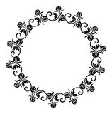 Black and white round frame with flowers silhouettes. Royalty Free Stock Images
