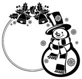 Black and white round frame with funny snowman Stock Photo