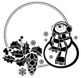 Black and white round frame with funny snowman Stock Image