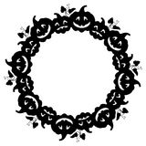 Black and white round frame with Halloween pumpkin silhouette. Stock Images