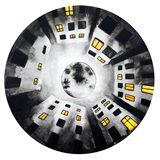 Black white round illustration of night sky moon house stock illustration