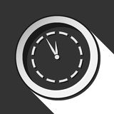 Black and white round with last minute clock icon. Black and white round - last minute clock icon with long shadow vector illustration