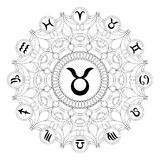 Black and white round mandala with zodiac symbol of taurus - adult coloring book Stock Images