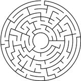 Maze / Circle labyrinth with entry and exit. Black and white round maze Stock Photos