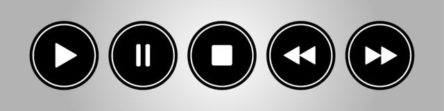 Black, white round music control buttons set vector illustration