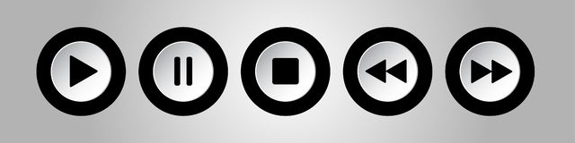 Black, white round music control buttons set royalty free illustration