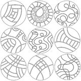Black and white round ornaments or decorations Royalty Free Stock Photos