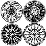Black and white round ornaments in ethnic style Stock Photography