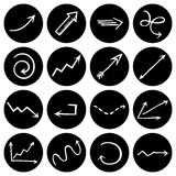 Black and white round pictograms. Stock Image