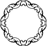 Black & White Round Scroll Frame. Black & White Round Scroll Frame with Clipping Path Royalty Free Stock Photos