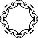Black & White Round Scroll Frame Stock Images