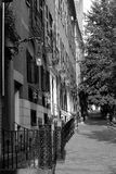 Black and White Row Houses Beacon Hill Boston. A well lit scene from Beacon Hill showing some of the historic brownsone row houses Royalty Free Stock Images