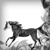 Black and white running horse, abstract background Royalty Free Stock Photos