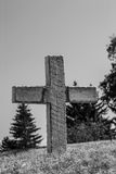 Black-and-White Rustic Cross Royalty Free Stock Photo