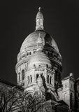 Black & White Sacre Coeur Basilica at night, Montmartre, Paris Stock Image