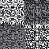 Black and white sale seamless patterns Stock Photo