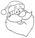Black And White Santa Claus Face Classic Cartoon Mascot Character Hand Drawing. Illustration Isolated On White Background Stock Photo