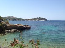 Black and white Santa ponsa. Secluded beach in Santa ponsa, majorca Royalty Free Stock Image