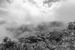 Black and White Sao Miguel. Black and white view of Pastures in the Sete Cidades caldera from the rim in Sao Miguel royalty free stock image