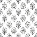 Black and white scandinavian style decorative trees seamless pattern. Cute nature background with leaves. Abstract forest vector illustration. Design for Stock Images