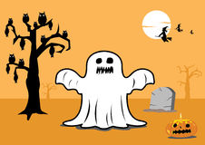 Black and White Scary Halloween elements. Editable Clip Art stock illustration