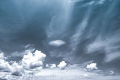 Black and white scene of sky and clouds. Background Stock Images