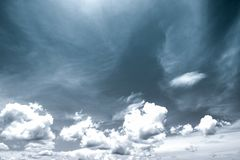 Black and white scene of sky and clouds. Background Royalty Free Stock Photography
