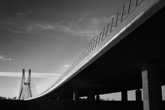 Black and white scenery under the bridge. Stock Photo