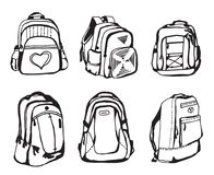 Black and white school bag sketch on white background. Black and white school bag sketch. Isolated on white background Royalty Free Stock Image