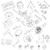 Black and white school doodle, elements hand drawing, vector cartoon illustration Stock Photography