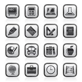 Black and white school and education icons Royalty Free Stock Photos