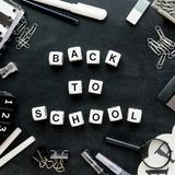 """Black and white school supplies and words """"Back to school"""" royalty free stock photos"""