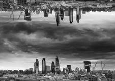 Black and white sci-fi futuristic fantasy image of upside down c. Black and white sci-fi futuristic fantasy image of upside-down city landscape Stock Images