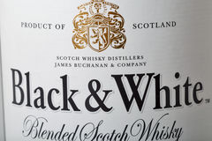 Black and White Scotch Whisky bottle closeup Stock Photography