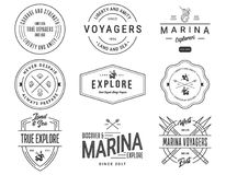 Black on White Sea Badges Vol. 1 for any use Stock Image