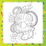 Black and white sea shell for coloring book Royalty Free Stock Photos
