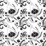 Black and white seamless. Floral background. Visit my portfolio for more other colours stock illustration