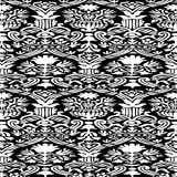 Black and white Seamless abstract floral pattern vintage background Stock Photo